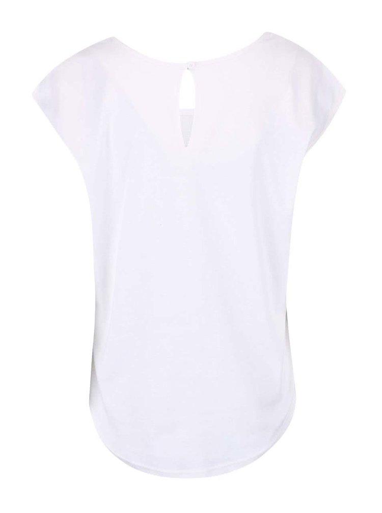 Bílé tričko s modrými vzory Desigual Caridad