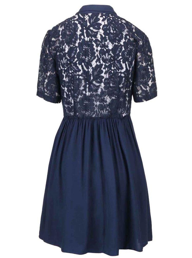 Tmavomodré čipkované šaty VERO MODA Nynne