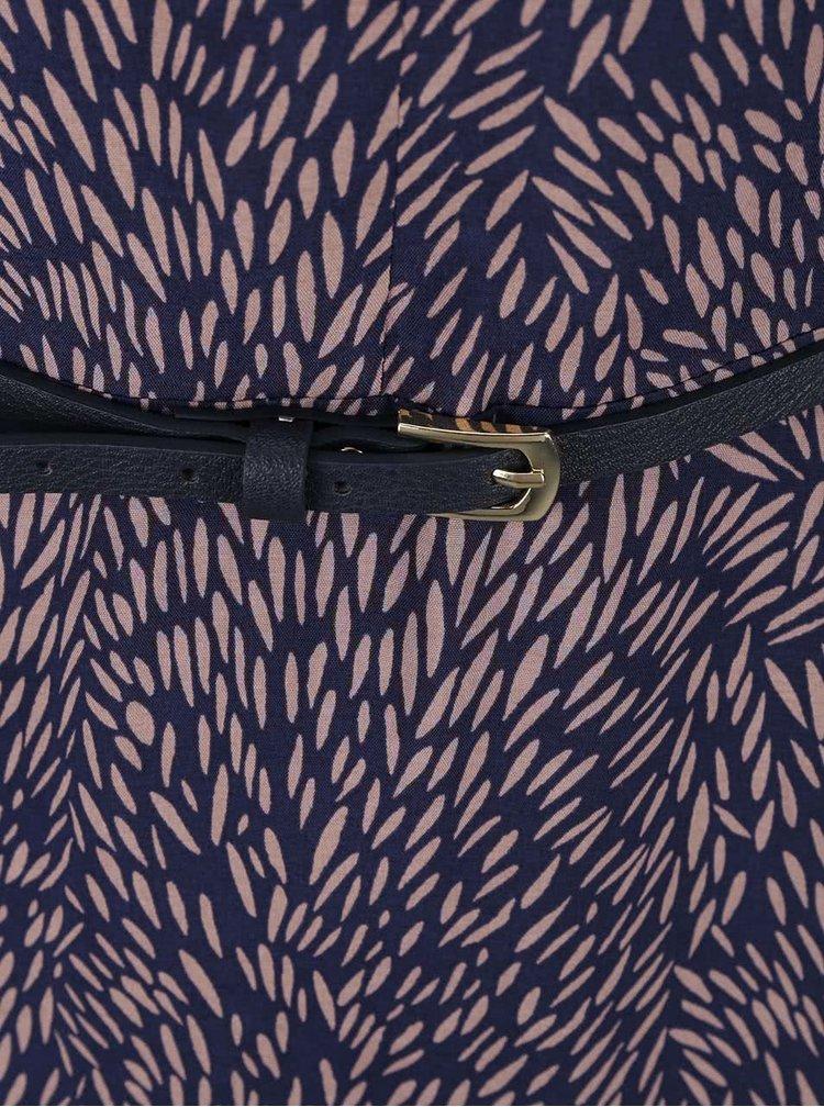 Modré vzorované šaty s tenkým páskem Apricot