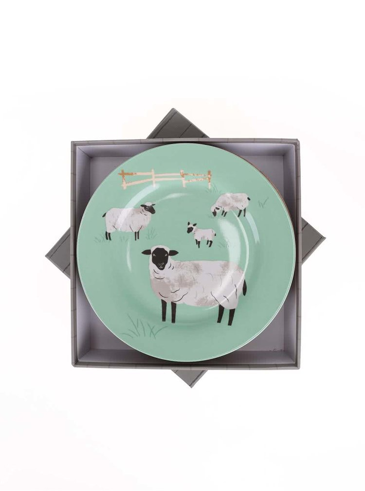 Porcelánová sada čtyř barevných talířů Magpie Hugletts Wood