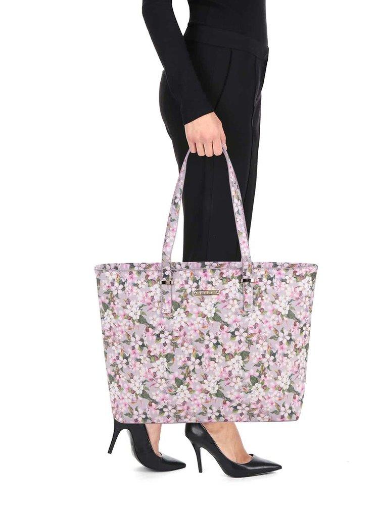 Růžový květovaný shopper LYDC