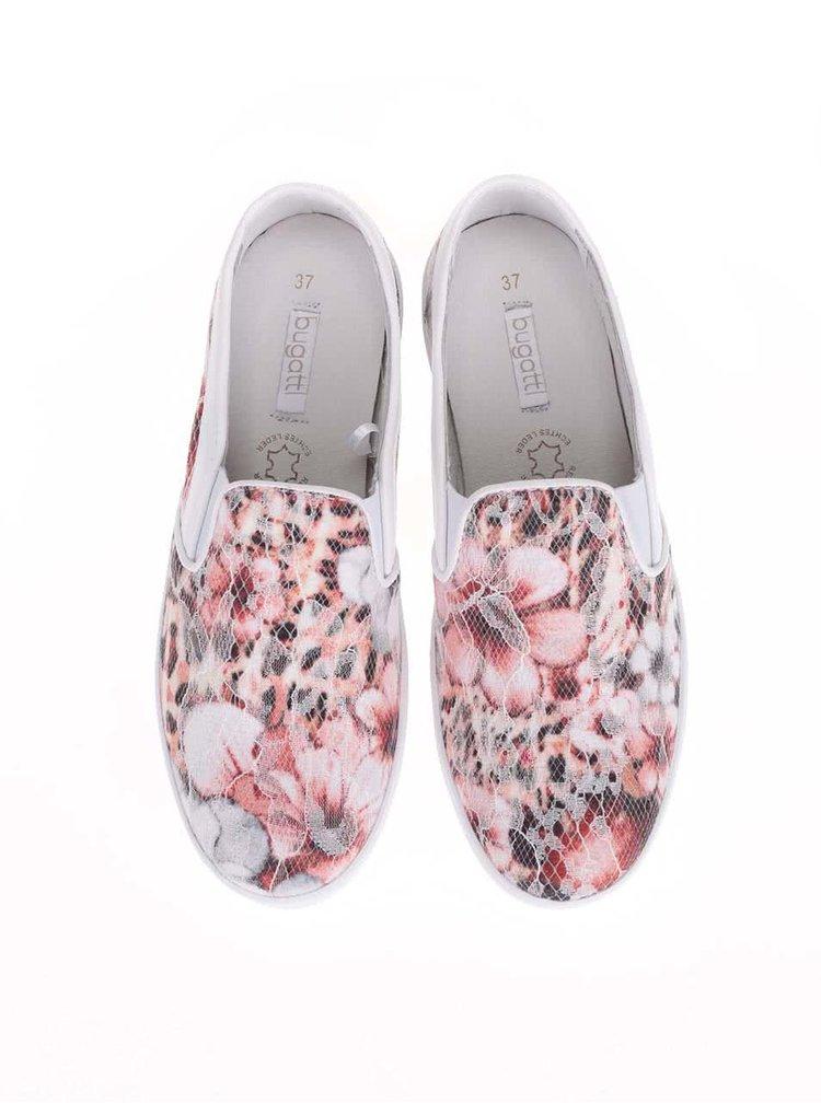 Biele dámske slip on tenisky s kvetinami bugatti