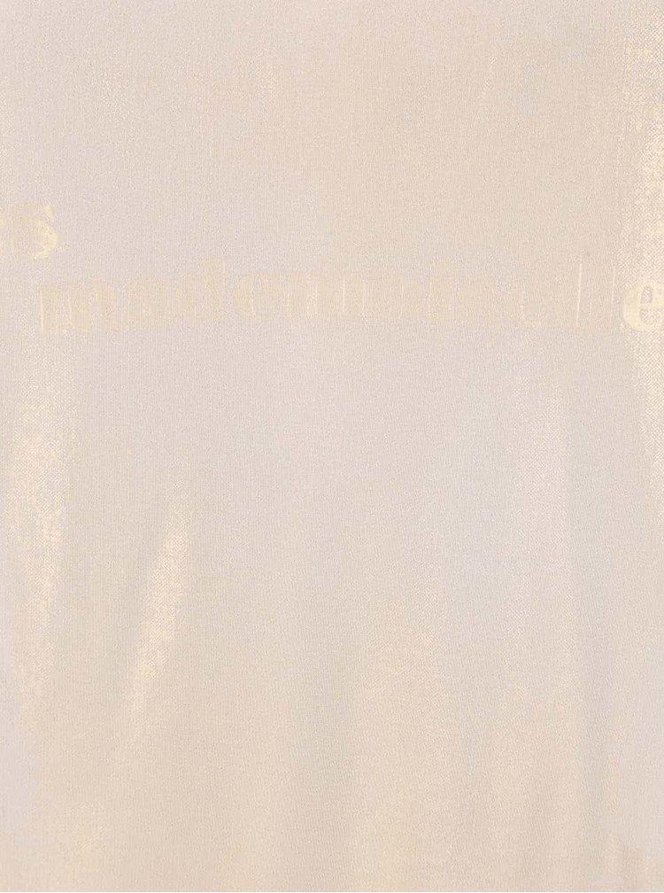 Krémový top s metalickým potiskem YAYA
