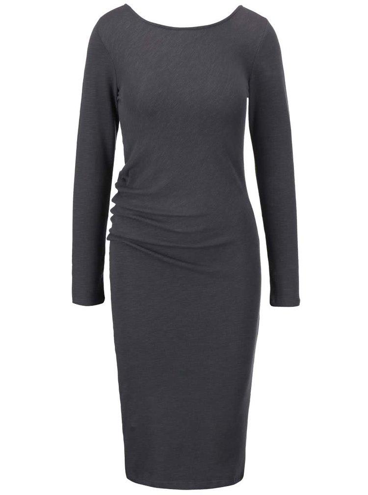 Tmavosivé priliehavé asymetrické šaty YAYA