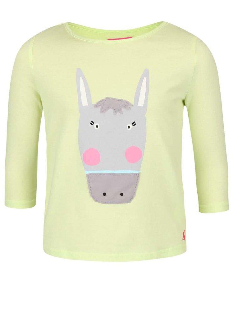 Zelenožluté holčiči triko s potiskem oslíka Tom Joule