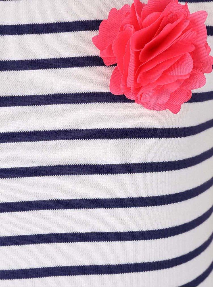 Bílé pruhované holčičí šaty s růžovou květinou Tom Joule
