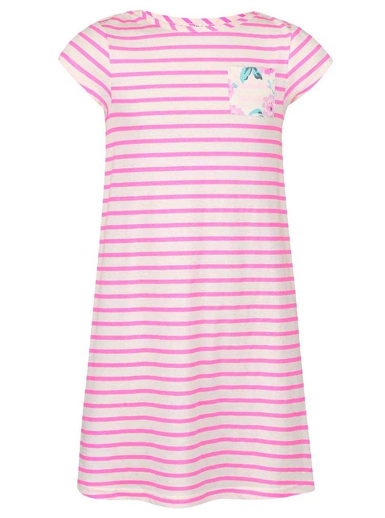 Bílo-růžové pruhované holčičí šaty Tom Joule
