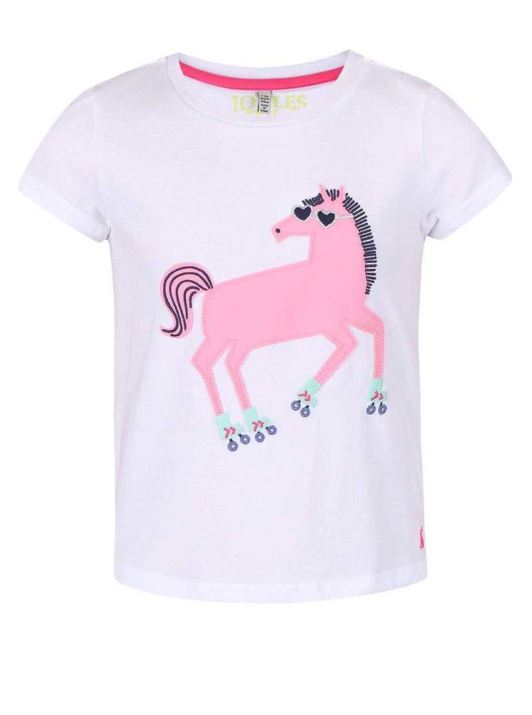 Bílé holčičí triko s koníkem Tom Joule