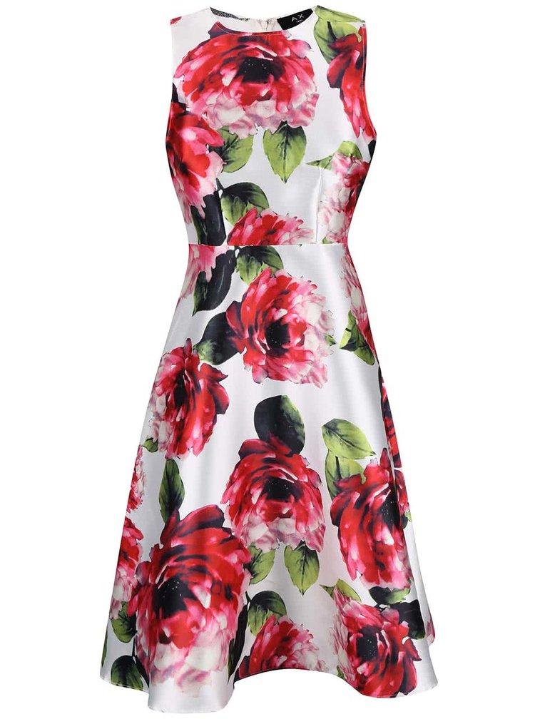 Biele šaty s ružovými kvetmi AX Paris