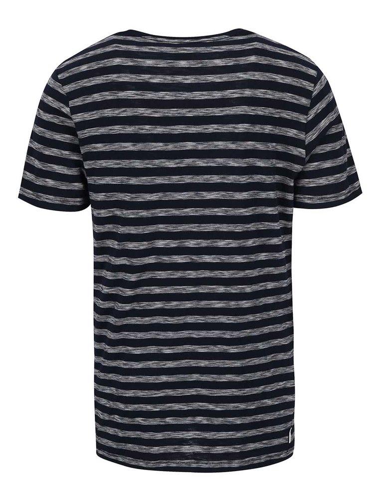 Tmavomodré pánske pruhované tričko s náprsným vreckom Ragwear Sid