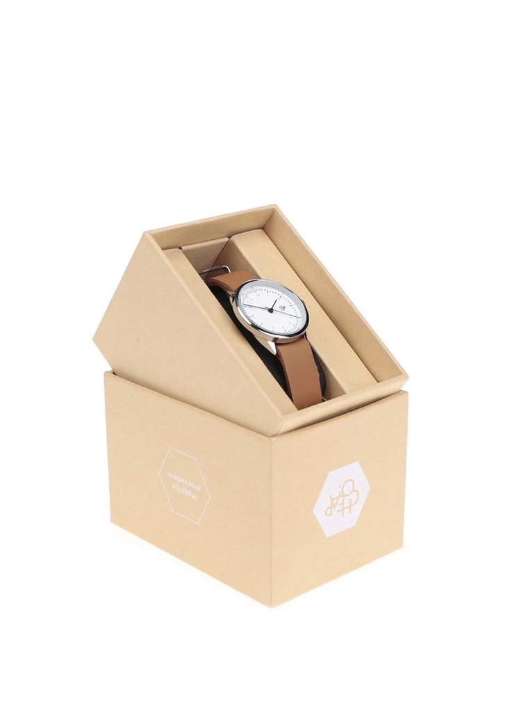 Dámské hodinky ve stříbrné barvě s hnědým koženým páskem CHPO Harold Mini