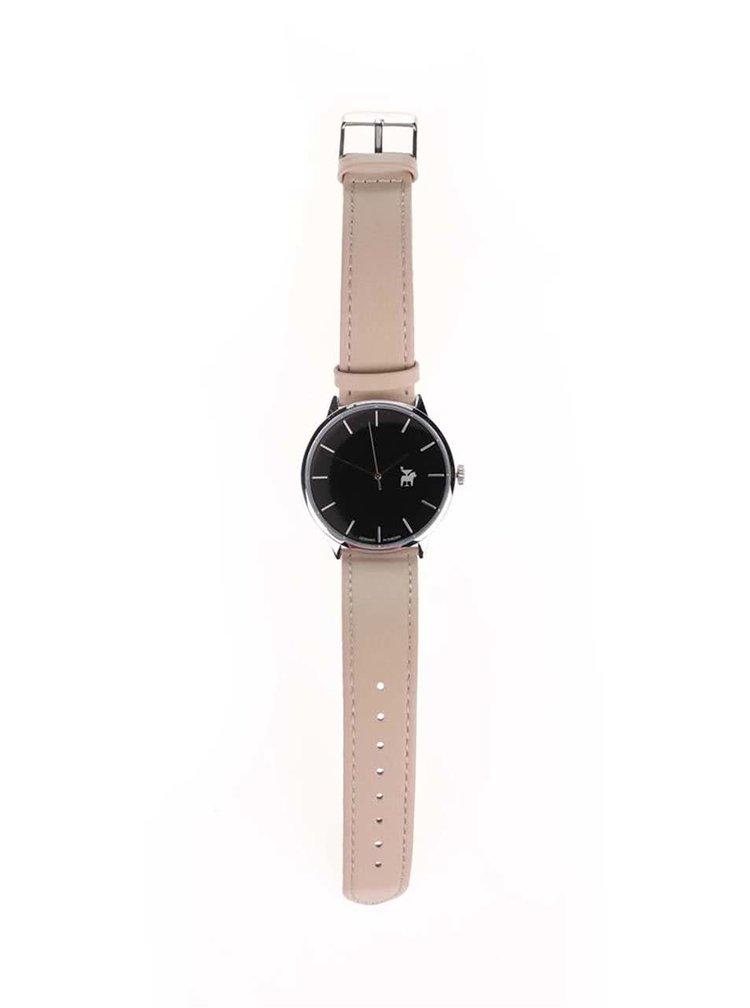 Unisex hodinky v striebornej farbe s béžovým remienkom z vegánskej kože Cheapo Khorshid Zebra