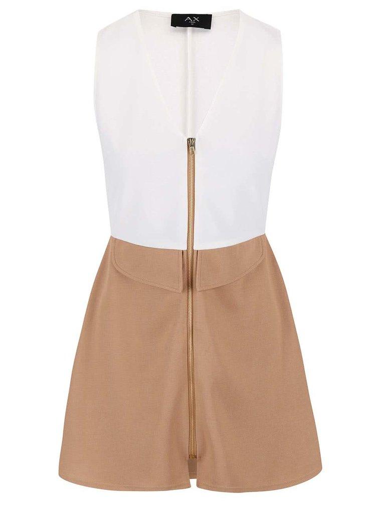 Krémovo-hnědé šaty AX Paris