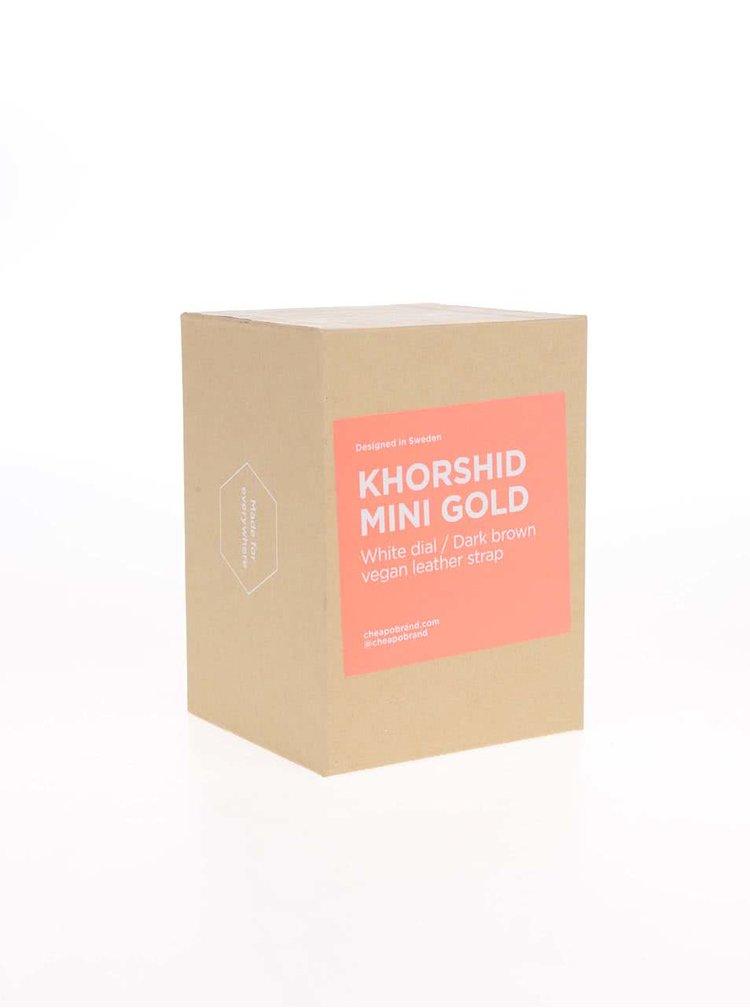 Ceas maro închis cu alb Khorshid Mini Gold pentru femei