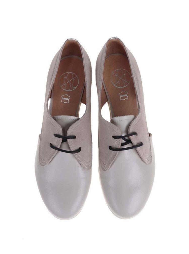 Pantofi OJJU gri din piele