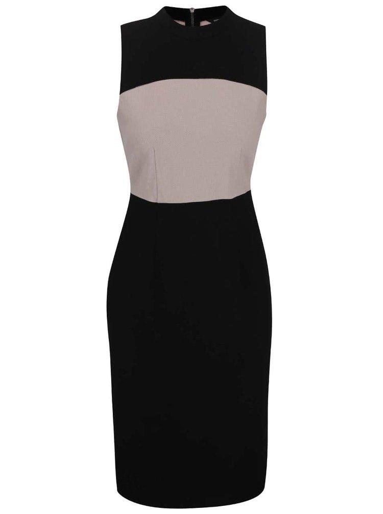 Béžovo-čierne puzdrové šaty Dorothy Perkins