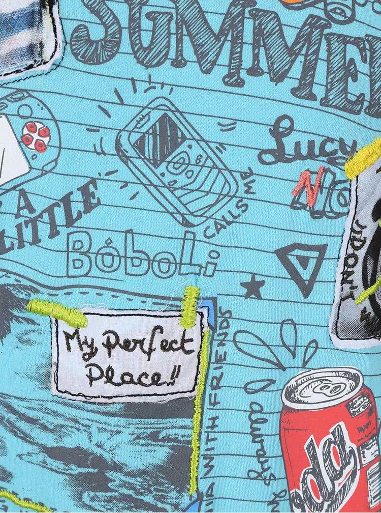 Tyrkysové chlapčenské tričko s potlačou a nášivkami Bóboli