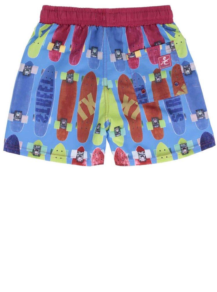 Červeno-modré chlapčenské plavky s potlačou Bóboli