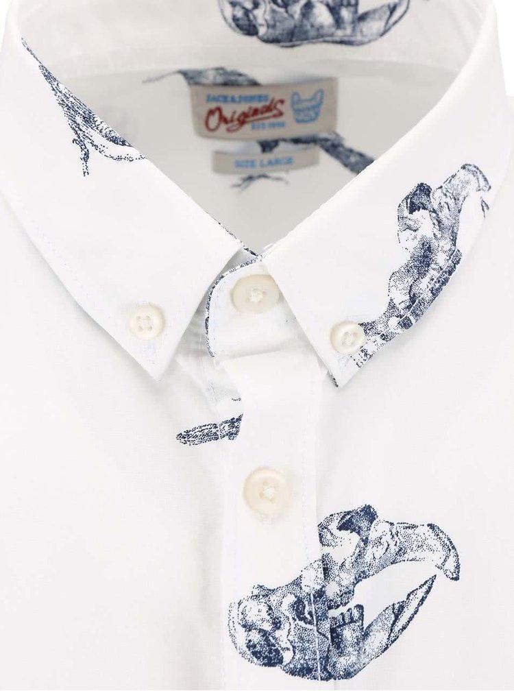 Cămașă Jack & Jones Aron albă, cu print