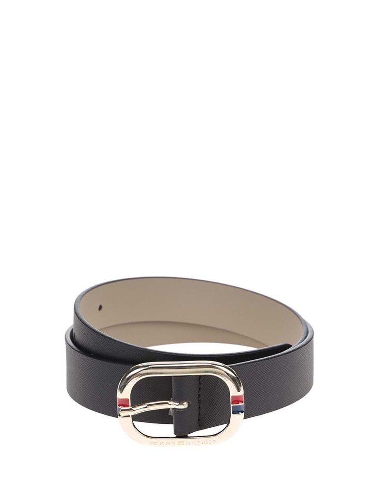 Čierny dámsky kožený opasok Tommy Hilfiger Honey