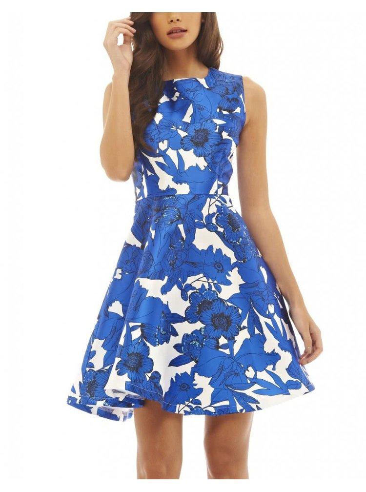 Bílo-modré květované šaty AX Paris