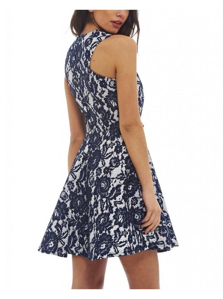 Bílo-modré krajkové šaty AX Paris
