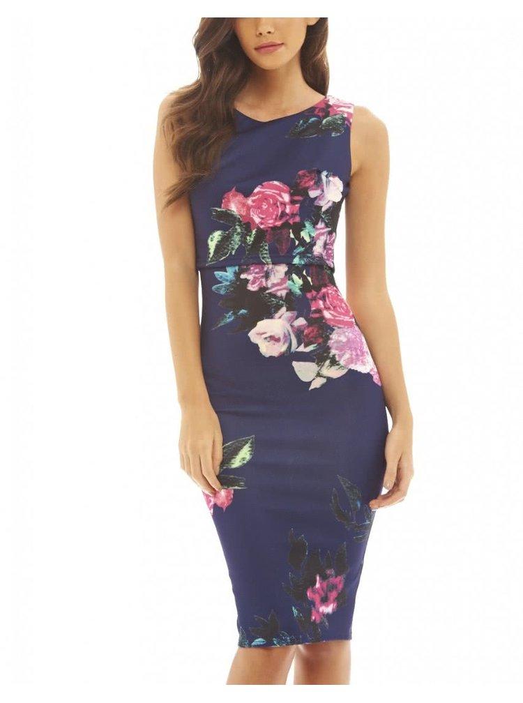Tmavomodré kvetované šaty s dvojitým topom AX Paris