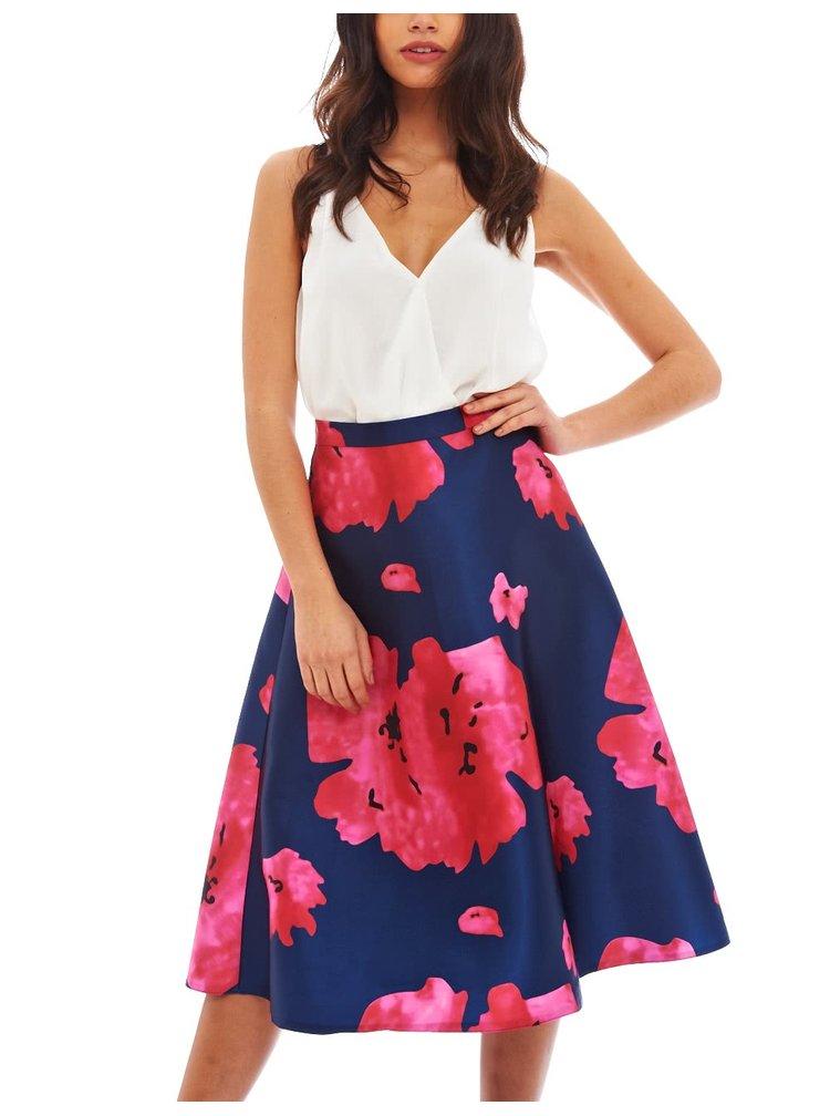 Růžovo-modrá sukně s květy AX Paris