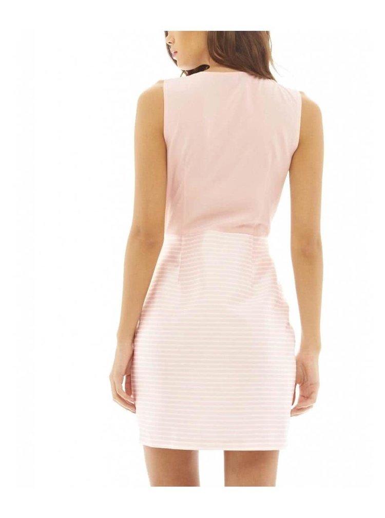 Ružové šaty s pruhovanou sukňou AX Paris