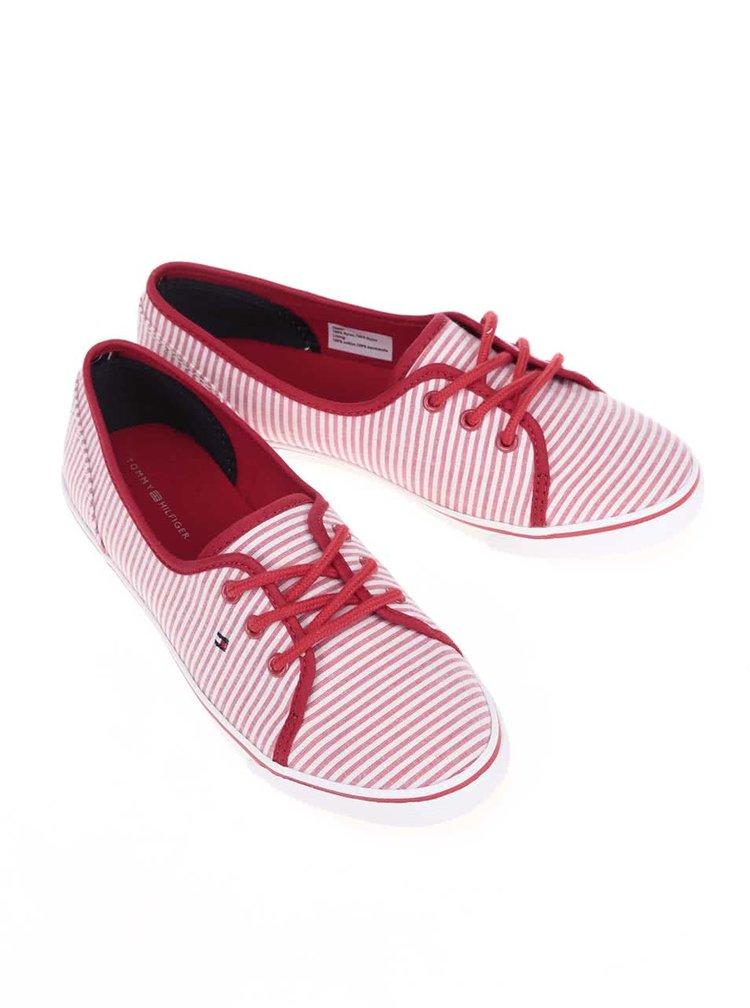 Červené dámské pruhované tenisky Tommy Hilfiger