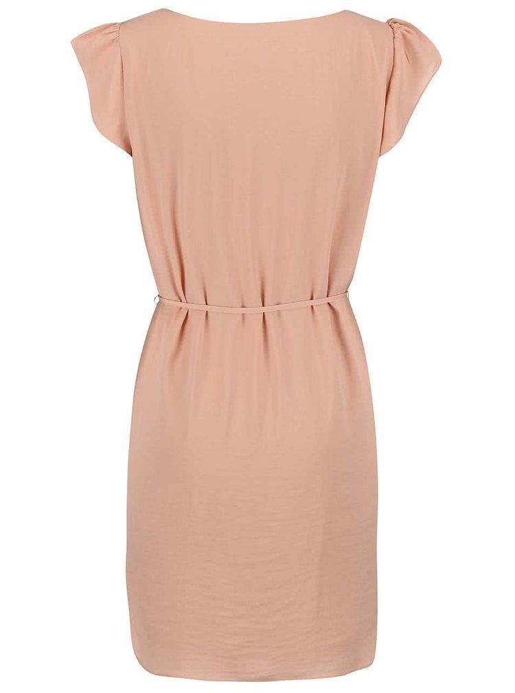 Růžové šaty se zavazováním VILA Pocka