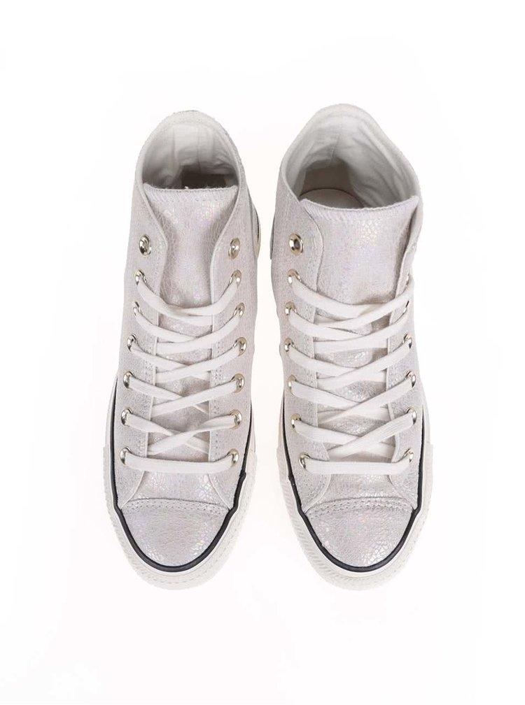 Krémovo-strieborné dámske kožené tenisky Converse Chuck Taylor All Star