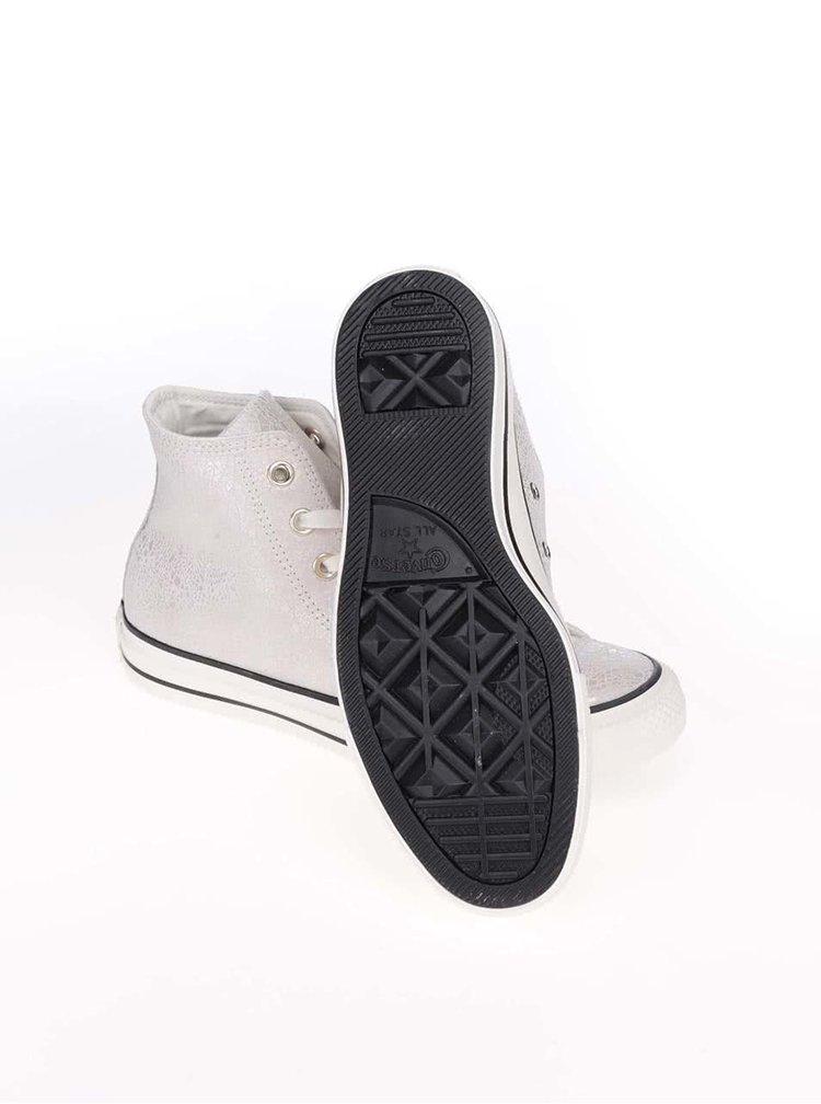 Krémovo-stříbrné dámské kožené tenisky Converse Chuck Taylor All Star