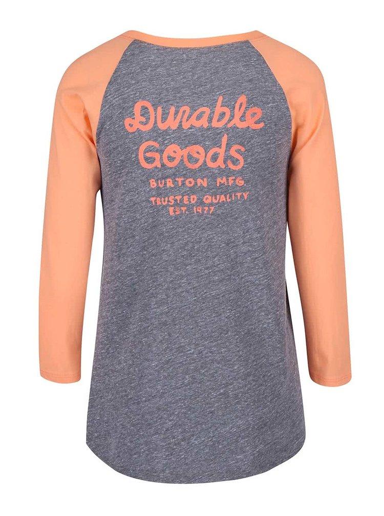 Tricou Burton Trusted Raglan, de culoare gri și portocaliu