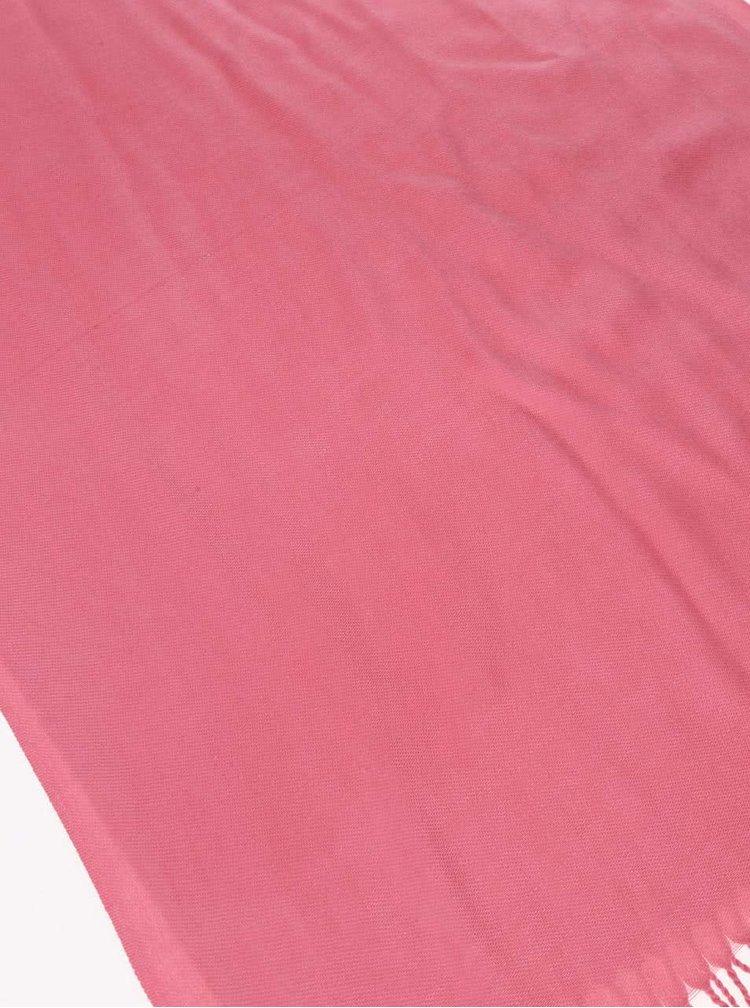 Eșarfă INVUU London roz, cu franjuri