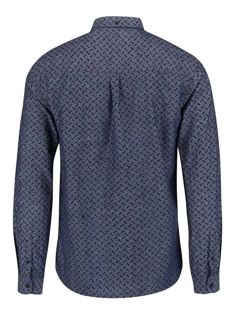 Modrá vzorovaná košile s dlouhým rukávem Shine Original Gibson Out