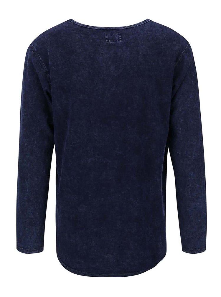 Tmavě modré triko s dlouhým rukávem Shine Original Worn Out