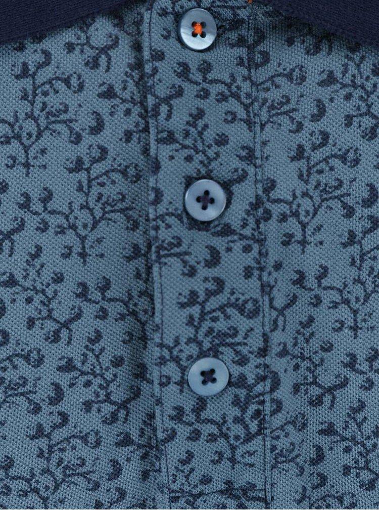 Modré vzorované polo triko s knoflíky Shine Original Rider