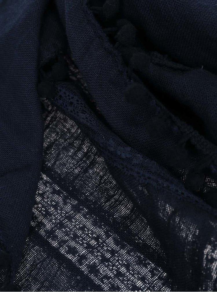 Tmavě modrý šátek s nápaditým lemem Pieces Tami