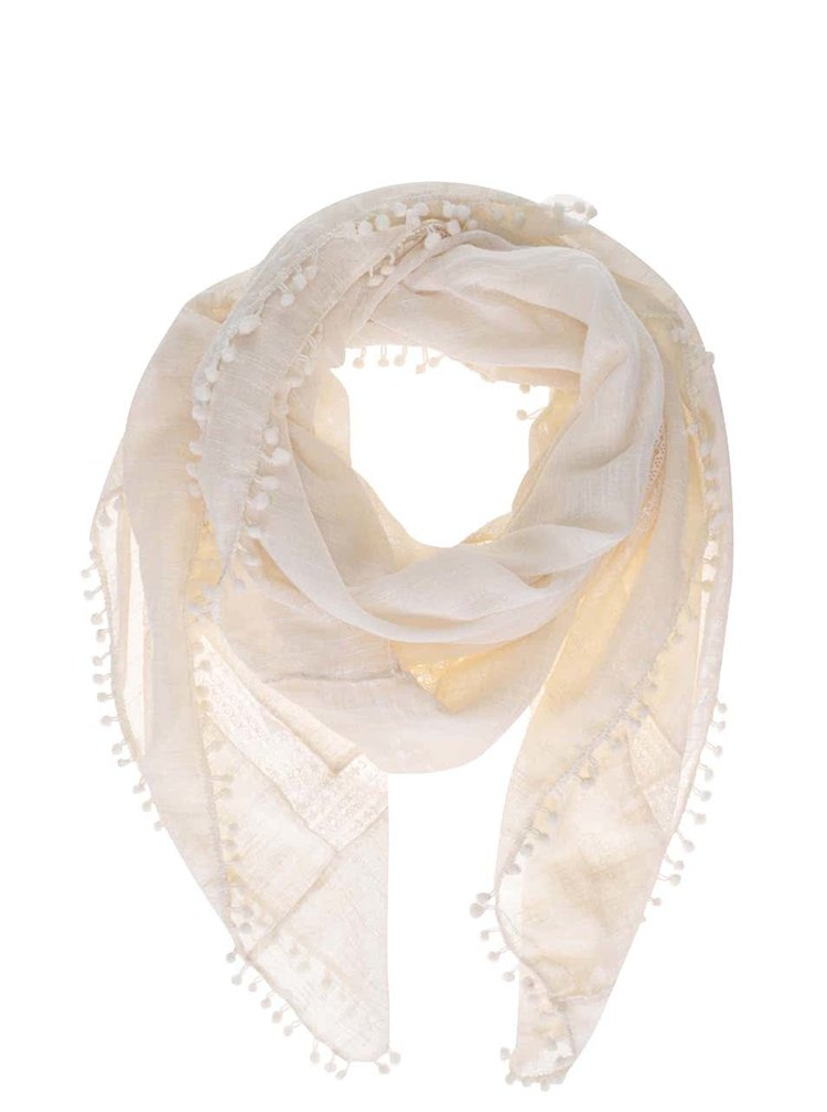 Krémový šátek s nápaditým lemem Pieces Tami