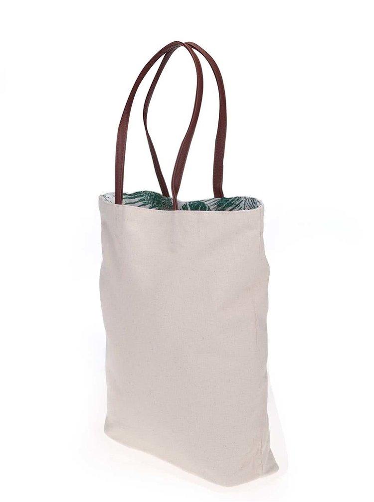 Zelená/krémová oboustranná plátěná taška Pieces Tabita