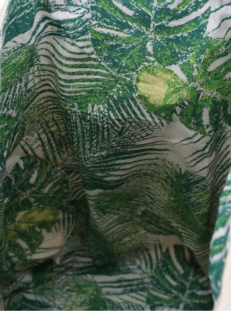Zelená/krémová obojstranná plátenná taška Pieces Tabita