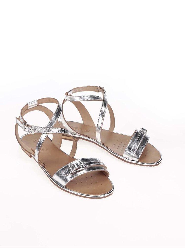 Kožené sandálky v striebornej farbe Geox Sozy
