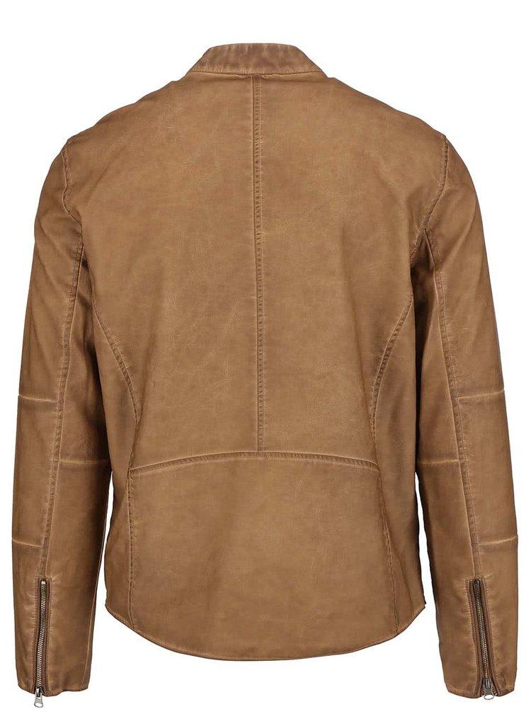 Svetlohnedá koženková bunda Shine Original Travis