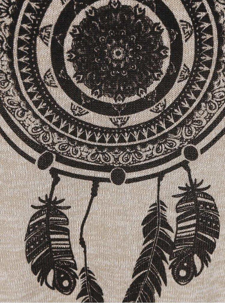 Béžové tričko s potiskem lapače snů Madonna