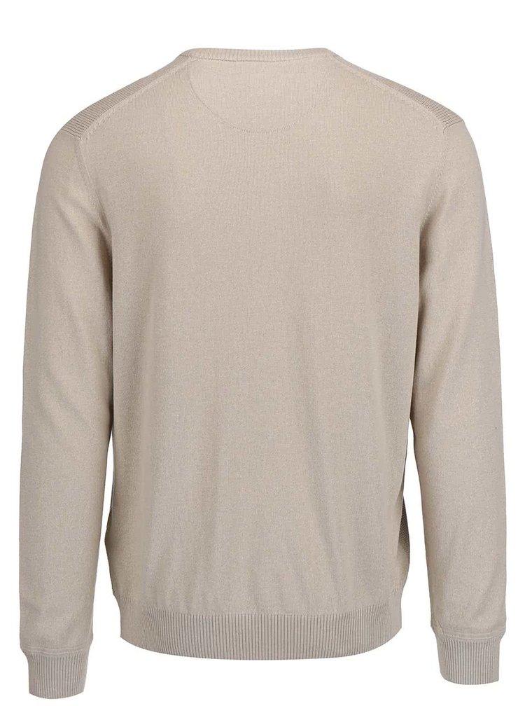 Béžový pánský svetr s výstřihem do V Bugatti