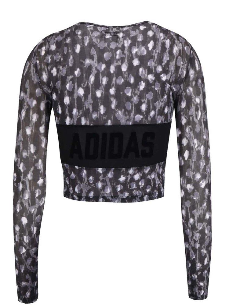Černý vzorovaný krátký top adidas Originals