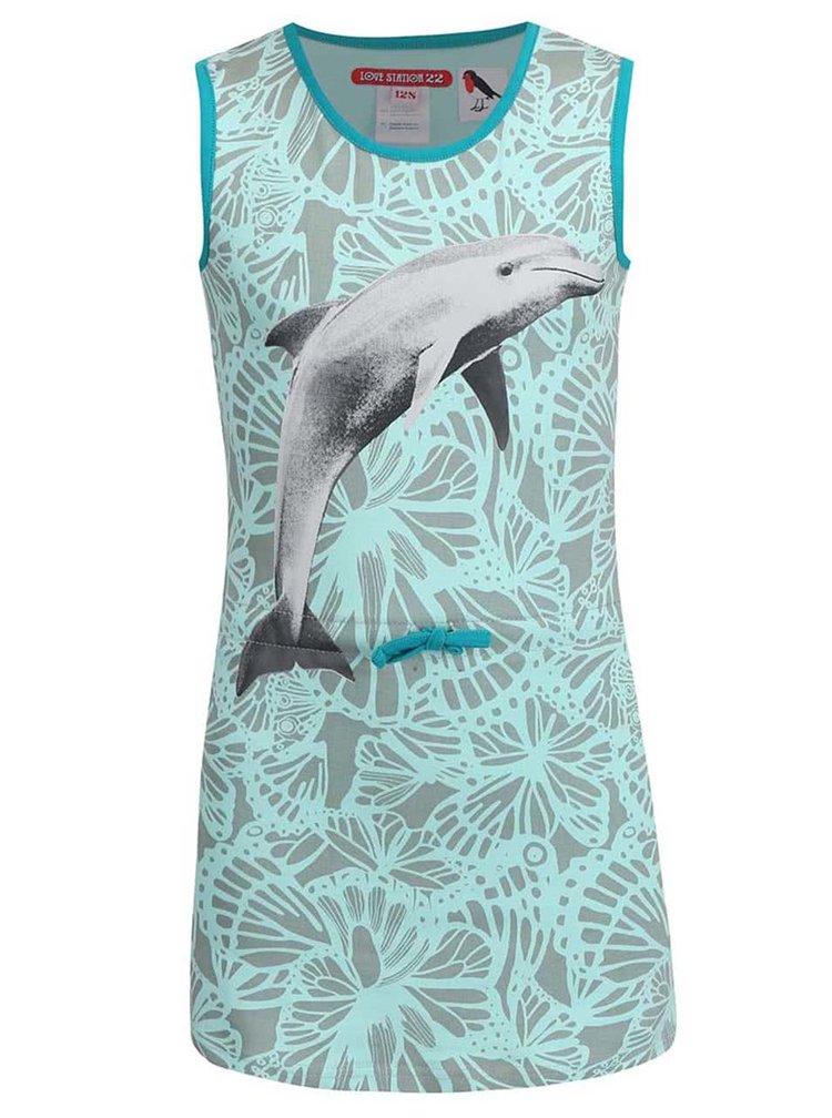 Šedo-mentolové dětské šaty s delfínem LoveStation22 Dolfijn