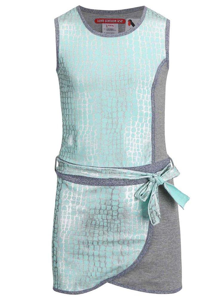 Sivo-mentolové detské trblietavé šaty LoveStation22 Janna
