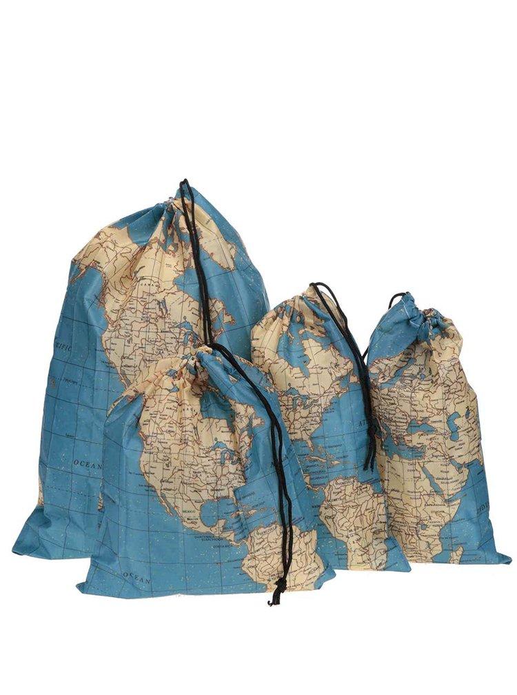 Sada čtyř cestovních vaků s potiskem mapy Kikkerland Maps